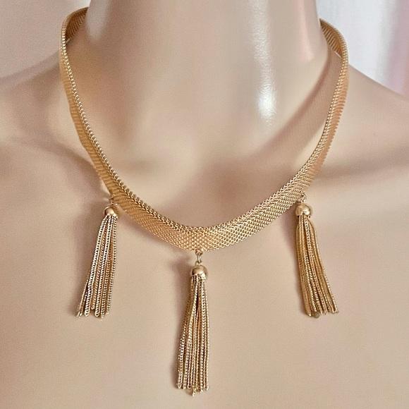 Vintage Goldtone Chain /& Faux Pearl Fringe Tassel Coro Necklace